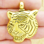 Tiger Head Pendant in Antique Gold Pewter