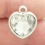 Clear Crystal Heart Pendants Wholesale in Silver Pewter