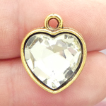 Clear Crystal Heart Pendants Wholesale in Gold Pewter
