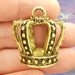 Crown Pendants Wholesale in Antique Gold Pewter Large