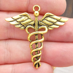 Caduceus Pendants Wholesale in Antique Gold Pewter