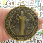 St Benedict Medal Door Ornament Bronze Pewter Extra Large