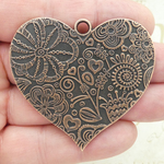 Flower Heart Pendant in Antique Copper Pewter