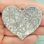 Flower Heart Pendant in Antique Silver Pewter
