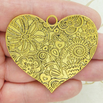 Flower Heart Pendant in Antique Gold Pewter