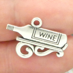 Wine Bottle Charms Wholesale in Silver Pewter