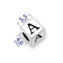 5.5mm Square Pewter Alphabet Beads Image
