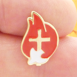 Confirmation Lapel Pin with White Dove and Flame