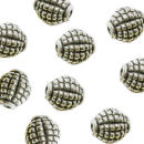 Oval 7-mm Bali Beads in Antique Silver Pewter Beads 5 Pieces Per Package