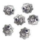 Round 10-mm Bali Beads in Antique Silver Pewter Beads 3 Pieces Per Package with Rope Accents