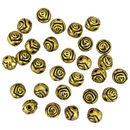 Rose Bali Beads in Gold Pewter 12 Pieces Per Package Round 7-mm
