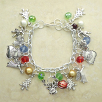 Christmas Charm Bracelets with Assorted Crystals and Charms
