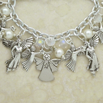 Angel Charm Bracelet with Crystals and Pearls