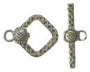Small Square Toggle Clasp in Antique Silver Pewter with Flower Accent