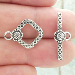 Square Toggle Clasp for Jewelry Making in Antique Silver Pewter with Flower Accent