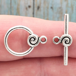 Medium Round Toggle Clasp in Antique Silver Pewter with S Design Accent