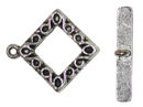 Medium Square Toggle Clasp in Antique Silver Pewter with S Pattern Accent