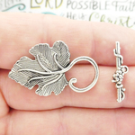 Grape Leaf Toggle Clasp Wholesale in Silver Pewter