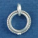 Toggle Clasp Rope Small with Bead Circle Sterling Silver