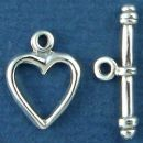 Toggle Clasp Heart with Bar Set for Sterling Silver Toggle Bracelet