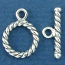 Toggle Clasp Set Rope Design Small Sterling Silver