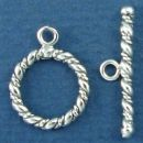 Toggle Clasp Rope and Polished Twist with Bar for Sterling Silver Toggle Bracelet