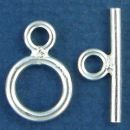 Toggle Clasp Polished with Bar Small for Sterling Silver Toggle Bracelet
