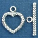 Toggle Clasp Set Rope Heart Design for Sterling Silver Toggle Bracelet